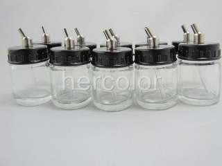 10x Airbrush Air Brush Glass Bole Jar w/ Sucion op |