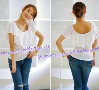 Womens ROUND neck ruffle collar casual tops BLUE small