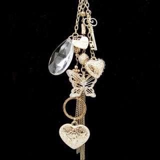 vintage antique style gold gp multi charm pendant long necklace