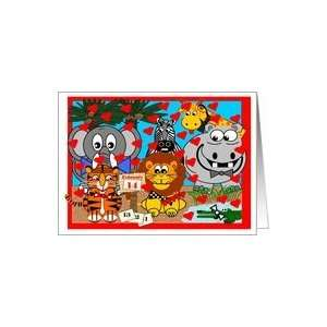 Wild Animals go crazy for you on Valentines Day Card