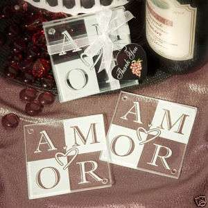 144 Amor Glass Coaster Sets Wedding Shower Favors