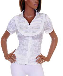 New Womens Short Sleeve Shirt Blouse Top White S M L