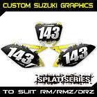 Custom Suzuki Number Graphics Backgrounds   RM RMZ DRZ 65 80 85 110