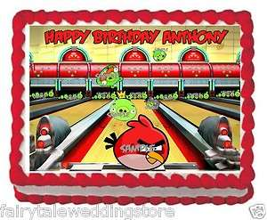 Sheet Angry Birds Bowling Birthday Party Edible Frosting Cake