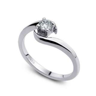 Solitaire Ronda de compromiso de diamantes Anillo de Oro de 14 qui
