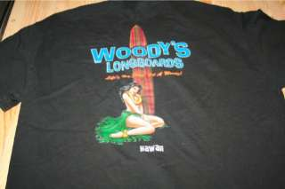 Woodys Longboards Hawaii Get a Woody T Shirt sz L Pinup Hula Girl