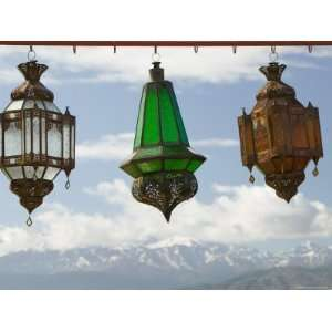 View of the High Atlas Mountains and Lanterns for Sale, Ourika Valley