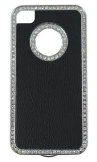 4s Premium Quality Black Leather Case Cover Shining Universal