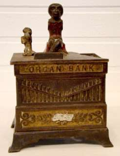 Antique 1882 ORGAN MONKEY DOG Vintage CAST IRON Toy MECHANICAL BANK