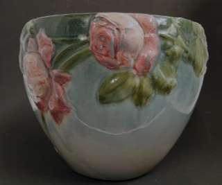 1906 ANTIQUE WELLER POTTERY ETNA LARGE JARDINIERE w/PINK ROSE DECOR