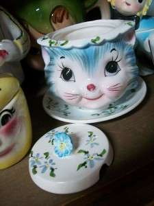 VINTAGE LEFTON MISS PRISS KITTEN KITTY CAT JAM JELLY CONDIMENT JAR