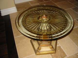 WOW Hollywood Regency Vintage Glam Pedestal COFFEE TABLE Gold Gilt