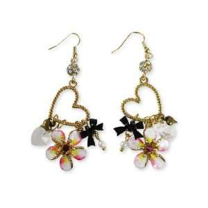Betsey Johnson Hawaiian Luau Heart Charm Earrings Jewelry