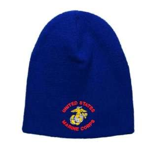 United States Marine Corps Embroidered Skull Cap   Royal