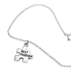 Sterling Silver Best Friend Puzzle Piece Charm Bracelet 7 9, Gift