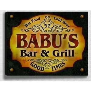 Babus Bar & Grill 14 x 11 Collectible Stretched