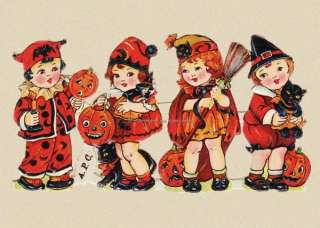 Halloween Witch Children REPRO GREETING CARD frm Vintage Scrap