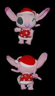 Disney Lilo Stitch Angel Plush Doll wearing Christmas Ms. Santa Claus