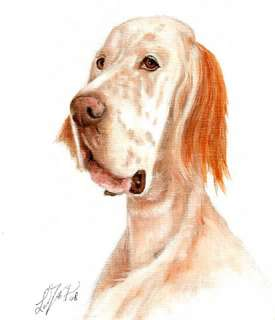Original Oil DOG Portrait Painting Art ENGLISH SETTER Artwork