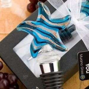Murano Art Glass Starfish Wine Bottle Stopper~Metal~Bar