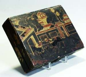 ANTIQUE JAPANESE BLACK LACQUER BOX WITH 4 BOXES INSIDE