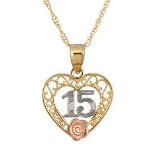 10k Tri Colored Gold Diamond Cut 15 Rose Pendant, 18 Jewelry