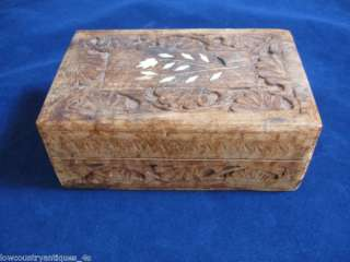 Soft Wood Hand Carved Trinket Jewelry Box Inlay India