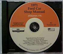 1971 Ford Shop Repair Manual CD Ranchero Torino Cougar Galaxie Mustang