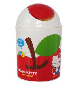 Sanrio Hello Kitty waste basket   Small trash can Apple