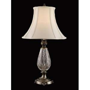 Tiffany GT80546 Crystal Table Lamp, Antique Silver and Fabric Shade