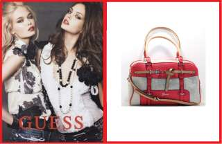 NEW GUESS Avera Canvas Box Satchel, CA331709 Red Multi, NWT