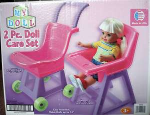 PIECE COMBO,DOLL STROLLER & HIGH CHAIR SET,3 & UP,NEW