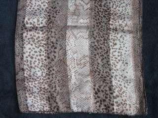 NEW Animal Snake Print Pink Brown Satin Scarf 59 x 13