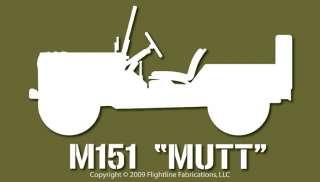M151 Mutt Vietnam Era Jeep Top Down Vinyl Decal Sticker