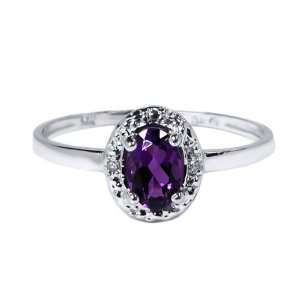0.62 Ct Amazing Oval Cut Amethyst 14K White Gold Ring Jewelry