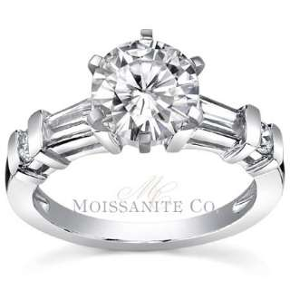 5mm Round & Baguette Moissanite Engagement Ring 2ct