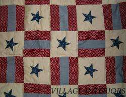 VICTORIAN HEART RED BLUE VINTAGE AMERICANA PRIMITIVE STAR QUILT THROW