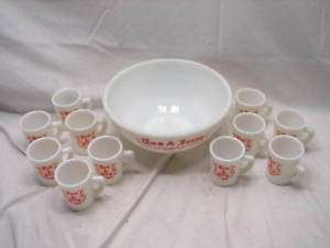 TOM & JERRY MCKEE MILK GLASS EGG NOG PUNCH BOWL SET D