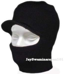 Winter Ski Face Mask Balaclava Visor Hat 1 Hole Black