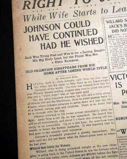 WILLARD Beats Negro Jack Johnson Boxing TITLE w/ Photo 1915 Newspaper