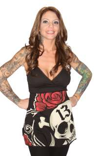 Lucky 13 Bar Room Bliss Skull Roses Graphic Dress Tunic Top