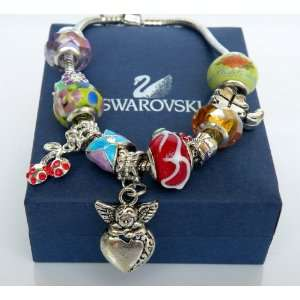 Bracelets   Gold,Crystal and Pearl Multi Strand Toggle Charm Women