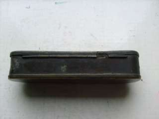 EARLY ANTIQUE 19TH CENTURY BRASS TOBACCO TIN BOX ENGRAVED THO
