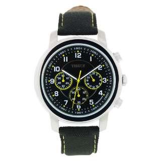 Timex Mens Nylon Canvas Strap & Black Dial Chronograph Watch T2N163