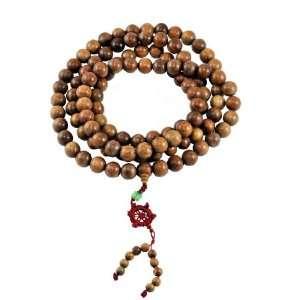 Tibetan Sandalwood 14mm 108 Prayer Beads Necklace, Tibetan Mala