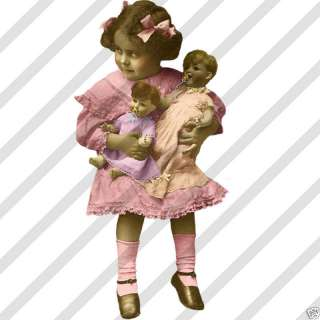 Printed Collage Sheet #26 Vintage Girls With Dolls