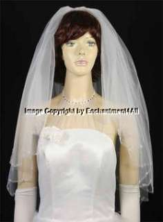 2T WHITE WEDDING BRIDAL VEIL BULGE BEAD DROPS EDGING 3A
