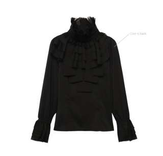 A2110 Japan Korea Fashion Black Ruffle Turtleneck Pleated Long Sleeve
