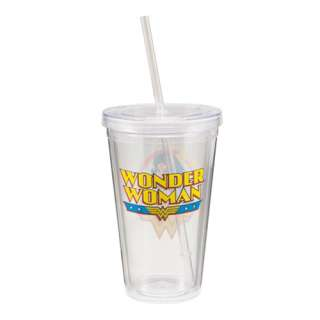 Wonder Woman Face and Name 18 oz Acrylic Travel Cup, NEW UNUSED