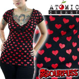 Sourpuss Cutie Mended Heart Top Polka Dot Rockabilly Pin Up Retro Cute